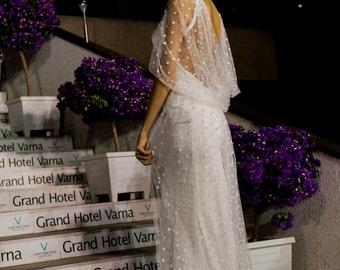 Modern Edwardian wedding dress, Column wedding dress, Bridal dress, Satin Wedding dress, Deco Wedding dress, Retro Wedding dress