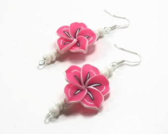 Pink Polymer Clay  Earrings - Clay Bead Flower Dangle Earrings - Pink Dangle Earrings