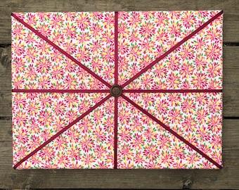 Light Floral Fabric Board w/ Burgundy Ribbon (SC)