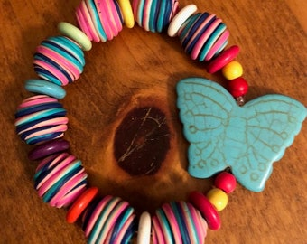 Color Clay Beads with Stone Butterfly