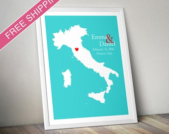 Custom Wedding Gift : Personalized Wedding Location and Country Map Print - Italy - Engagement Gift, Wedding Guest Book