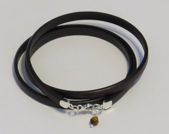 E-1784 Dark Brown Leather Bracelet with Sterling Silver Clasp