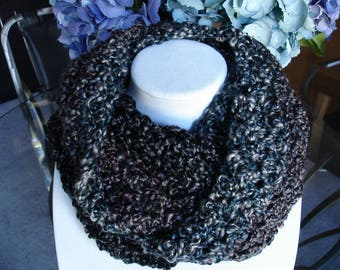Black/Brown/Gray/Blue Cowl Scarf, Infinity Scarf. Crocheted Scarf, Winter Scarf