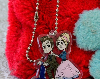 Doctor Who Idiot's Lantern the Doctor and Rose Tyler keychain charm
