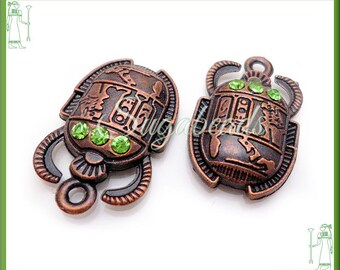 4 Egyptian Scarab Pendants - Copper Tone Scarab with Green Rhinestones 25mm, Egyptian Charms, Beetle Charms