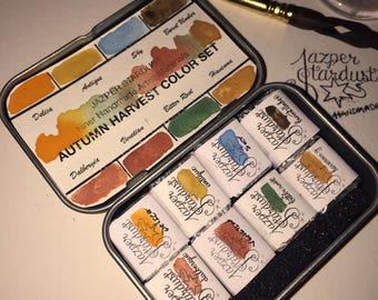 AUTUMN HARVEST TRAVEL Watercolor Set of 8 Artisan Handmade Watercolour paint set