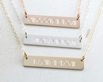 Roman Numeral Bar Necklace - Special Date Necklace - Gold Bar Necklace - Anniversary Engraved Necklace - Wedding Date - Special Gift