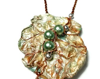 Wearable Art Jewelry, Artsy Statement Necklace, Repurposed Recycled Upcycled Jewelry, Eco Chic, Copper, Green Pearls, Pendant