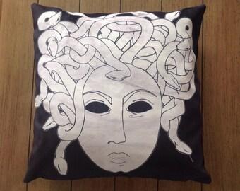 """medusa - 18"""" velveteen pillow case - original design"""