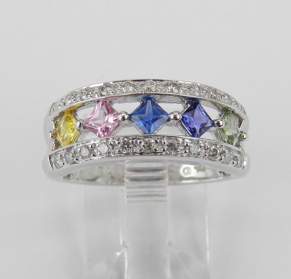 Multi Color Sapphire and Diamond Wedding Ring Anniversary Band White Gold Size 7 Pink Blue Yellow Green