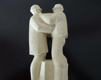 Sculpture concrete - men at work -.