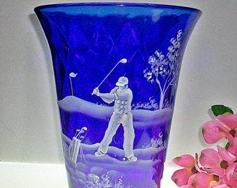 "Large Fenton Cobalt Flip Vase With Mary Gregory Style ""Golfer"" Decoration"