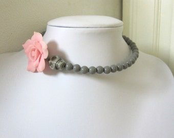 Gray Day of the Dead Necklace Sugar Skull Choker Pale Pink Rose