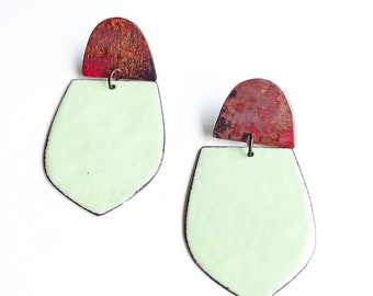 Lichen Green and Heat Patina Earrings
