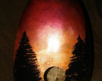 sunset silhouette birdhouse