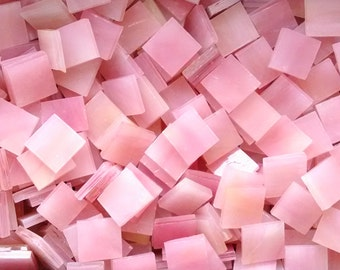 Light Pink Yellow Streaky Stained Glass Mosaic Tiles