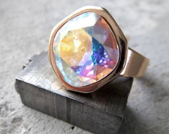 Other World - Swarovski Crystal Ring in Crystal AB with Soft Rose Gold Adjustable Ring Band, Colorful Pastel Cushion Cut Crystal Ring 4470