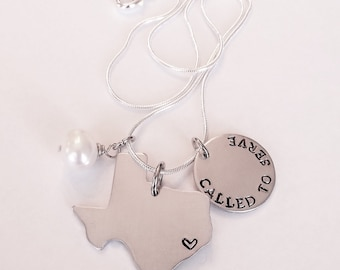 Called to Serve LDS Mormon Missionary Hand Stamped Necklace with State Called to Serve in -- All 50 States Available
