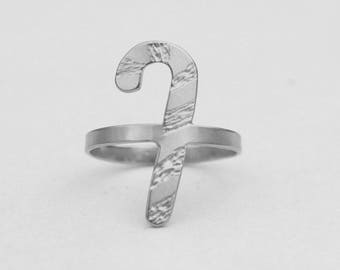 Candy Cane Christmas Ring in Sterling Silver