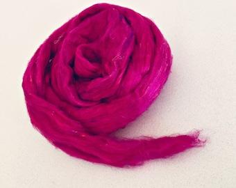 Sari Silk Carded/Combed Sliver Roving Fuschia 1 Ounce