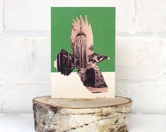Greetings Card, Tower of London Raven, Green Card, Vintage postcard