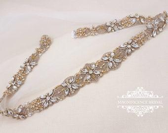 Gold bridal belt, gold belt, Champagne belt, wedding belt, Bridal belt, gold wedding, vintage gold belt, sparkle belt, gold sash, JAMIE