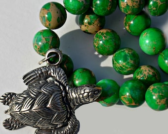 Sea Turtle Pewter Pendant with Multicolor Green Bead Necklace