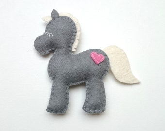Felt Horse decoration for babyroom - horse ornament for Christmas Housewarming home decor Baby shower ideas for her for him eco friendly