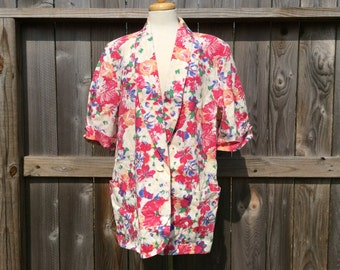 Pink Floral Short Sleeve Women's Blazer Jacket Oversized Vintage Casual by Kenneth Mitchell