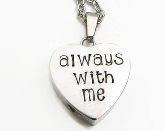Cremation Urn Necklace, Cremation Jewelry, Hand Stamped Personalized Necklace, Always With Me, Remembrance Necklace, Personalized Jewelry