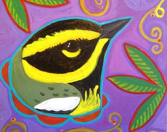 Original Painting Townsend's Warbler Whimsey