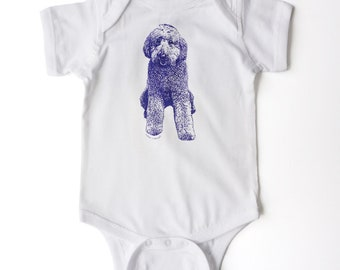 Baby shower gift for goldendoodle fan.  Goldendoodle screen printed on a onesie bodysuit for baby.