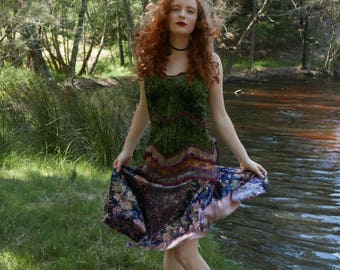 SOLD UNDER LAYAWAY Vintage velvet fairy dress / princess of the woodland / folk festival dress in the prettiest crushed and floral velvets