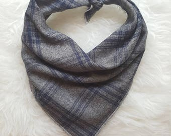 Gray with Navy Plaid//Dog Bandana