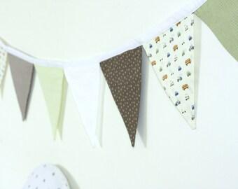 Wall Decoration, Nursery Banner, Fabric Garland, Flag Garland, Baby Boy Room Decor