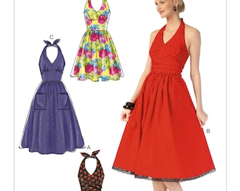 OOP Retro Halter Dress Pattern - McCall's M7157 Sewing Pattern - Halter Dress with flared skirt 4 lengths,Sizes: 6 -14 or 14 -22