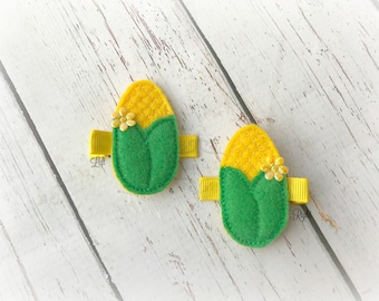 Sweet Corn hair clip Baby hair clip Corn on the Cob hair clip soft clippie Pick one or two. Pick Left side or Right.