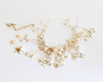 Pearl Branch Necklace, Gold, Branch Necklace, Freshwater Keishi Pearls, Gold Swarovski Crystals, Bridal Statement Necklace