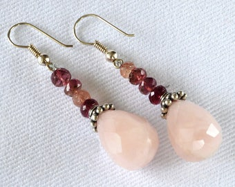 Rose Quartz and Pink Tourmaline Earrings