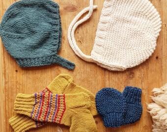 Baby bonnet, knit merino wool, unisex baby hat, size 1 - 2 years