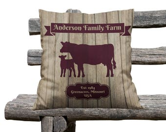 Custom Personalized  Farmhouse Chic Throw Pillow, Decorative Pillows, Cattle Ranch