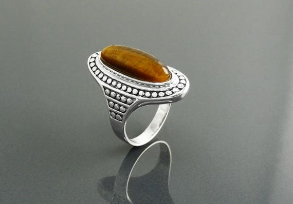 Tiger Eye Ring, Sterling Silver, Natural Tiger Eye Stone Boho Style Ring, Long Antique Gypsy Rings, Ethnic Jewelry, Statement Studded Ring