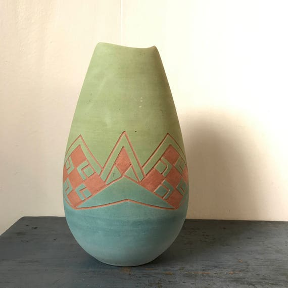 handmade Pueblo pottery - Native American flower vase - terra cotta blue green ombre