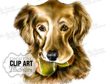 Dog Clipart Golden Retriever | Color Illustration | Dog Clip Art Digital Download | Animal Art | Digital Scrapbooking | Scrapbook Supplies