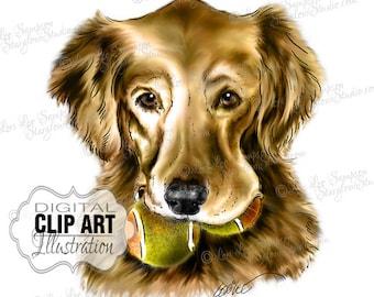 Dog Clipart Golden Retriever | Color Illustration | Dog Clip Art Digital Download | Animal Art | Digital Scrapbooking | Scrapbook Supplies