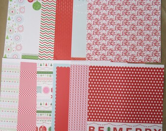 12 Sheets Cute Retro 12 X 12 Scrapbook Paper CHRISTMAS HOLIDAY Tree Crafting C