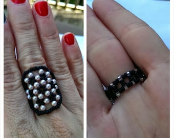 Pink Swarovski Pearls with Black Seed Beads Beaded Domed Ring