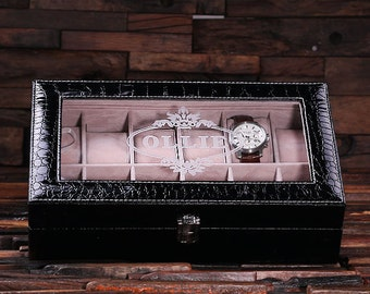 Set of 3 Watch Box  for Men Black Crocodile  Personalized Christmas, Anniversary, Father's Day, Birthday, Graduation Gift