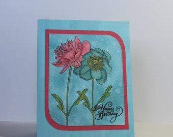 "Handmade Tim Holtz Flower Happy Birthday Greeting Card - 4 1/4"" x 5 1/2"""