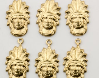 Vintage Gold Tone Native American Indian Pendant Charm 20x11mm 6pcs for Necklace, Earrings, Bracelet and Craft 10513009